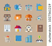 icons real estate with house... | Shutterstock .eps vector #1027561219