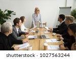 serious aged businesswoman... | Shutterstock . vector #1027563244