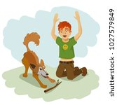 a boy is playing with a dog.... | Shutterstock .eps vector #1027579849