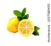 yellow lemons with green leaves ... | Shutterstock .eps vector #1027580455
