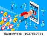 social influencer concept.... | Shutterstock . vector #1027580761