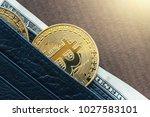 cryptocurrency golden bitcoin... | Shutterstock . vector #1027583101
