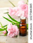Small photo of Carnation absolute essential oil and pink flowers on the wooden table