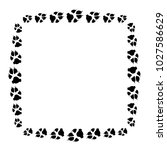 dog or cat paw white footprint... | Shutterstock .eps vector #1027586629