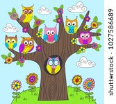 funny owls on the tree   vector ... | Shutterstock .eps vector #1027586689