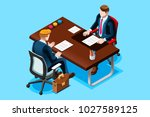 interviewing job search. flat... | Shutterstock .eps vector #1027589125