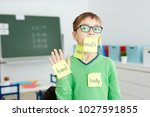 schoolboy in eyeglasses with... | Shutterstock . vector #1027591855