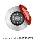 Stock photo car brake disc and red caliper isolated on white 1027593871