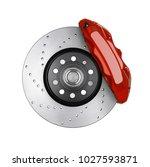 car brake disc and red caliper... | Shutterstock . vector #1027593871