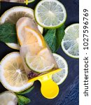 healthy homemade lime and... | Shutterstock . vector #1027596769
