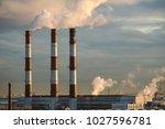 energy. smoke from chimney of... | Shutterstock . vector #1027596781