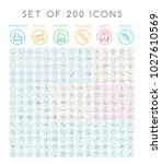 set of 200 minimal modern black ... | Shutterstock .eps vector #1027610569