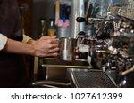 barista women is a make cup of... | Shutterstock . vector #1027612399
