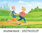 eldery people character runs.... | Shutterstock .eps vector #1027613119