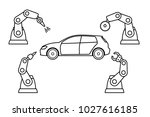 thin line style car assembly... | Shutterstock .eps vector #1027616185