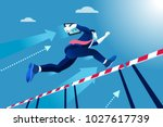 business man jumping over... | Shutterstock . vector #1027617739