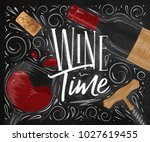 poster lettering wine time with ... | Shutterstock .eps vector #1027619455