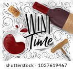 poster lettering wine time with ...   Shutterstock .eps vector #1027619467