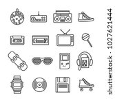 vector image set of retro 80s... | Shutterstock .eps vector #1027621444