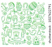 irish saint patrick s day icons ... | Shutterstock .eps vector #1027622791