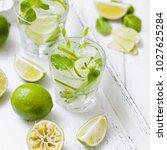 caipirinha or mojito cocktail... | Shutterstock . vector #1027625284