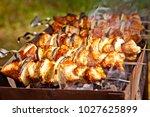 bbq meat prepare on fire  | Shutterstock . vector #1027625899