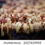 bbq meat prepare on fire  | Shutterstock . vector #1027625905