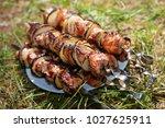 bbq meat prepare on fire  | Shutterstock . vector #1027625911