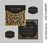 wedding invitation or greeting... | Shutterstock .eps vector #1027628089