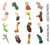 animal paw vector animalistic... | Shutterstock .eps vector #1027629691