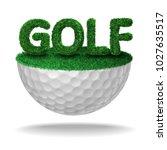 golf text textured with grass... | Shutterstock .eps vector #1027635517