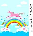 unicorn on rainbow   Shutterstock .eps vector #102763625