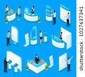 isometric promotional stands... | Shutterstock .eps vector #1027637341
