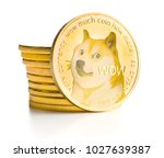 the golden dogecoin isolated on ... | Shutterstock . vector #1027639387