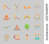 icons about amusement park with ... | Shutterstock .eps vector #1027640059