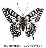 silhouette of butterfly. tattoo ... | Shutterstock . vector #1027644634