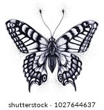 silhouette of butterfly. tattoo ... | Shutterstock . vector #1027644637
