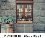 stone rock wall with modern...   Shutterstock . vector #1027645195