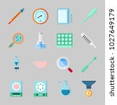 icons about laboratory with lab ... | Shutterstock .eps vector #1027649179