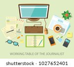 a journalist's desk with a... | Shutterstock .eps vector #1027652401