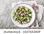 a plate of nutritious simple... | Shutterstock . vector #1027652839