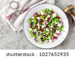 a plate of nutritious simple... | Shutterstock . vector #1027652935