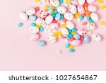 easter candy chocolate eggs and ...   Shutterstock . vector #1027654867
