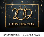 2019 happy new year background... | Shutterstock .eps vector #1027657621