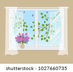 open window with curtains on a... | Shutterstock .eps vector #1027660735