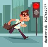 busy man pedestrian character... | Shutterstock .eps vector #1027661077