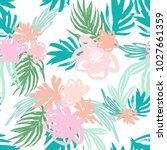 summer tropical florals... | Shutterstock .eps vector #1027661359