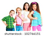 laughing small kids on a white... | Shutterstock . vector #102766151