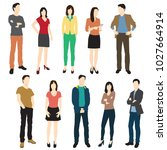 set of men and women standing ... | Shutterstock .eps vector #1027664914