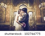 married couple kissing in a... | Shutterstock . vector #102766775